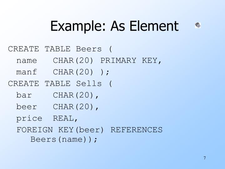 Example: As Element