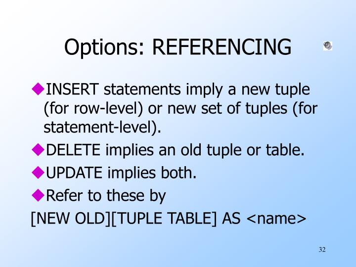 Options: REFERENCING