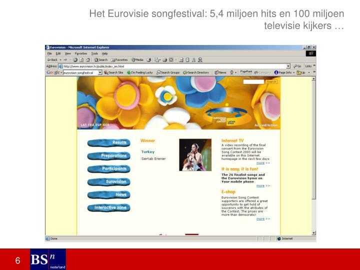 Het Eurovisie songfestival: 5,4 miljoen hits en 100 miljoen televisie kijkers …