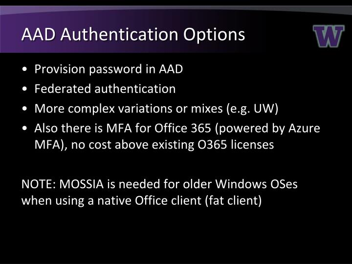 AAD Authentication Options