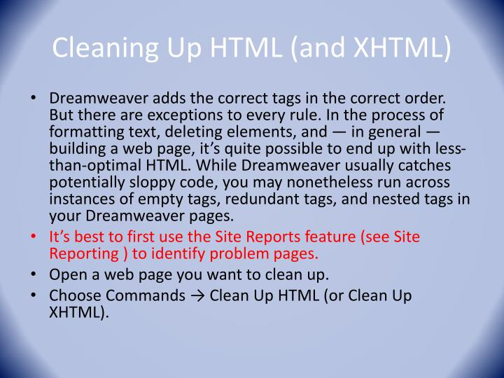Cleaning Up HTML (and XHTML)