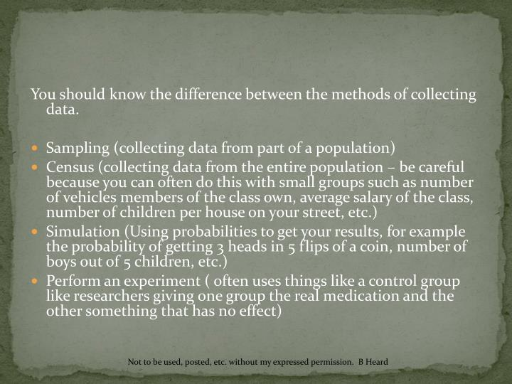 You should know the difference between the methods of collecting data.