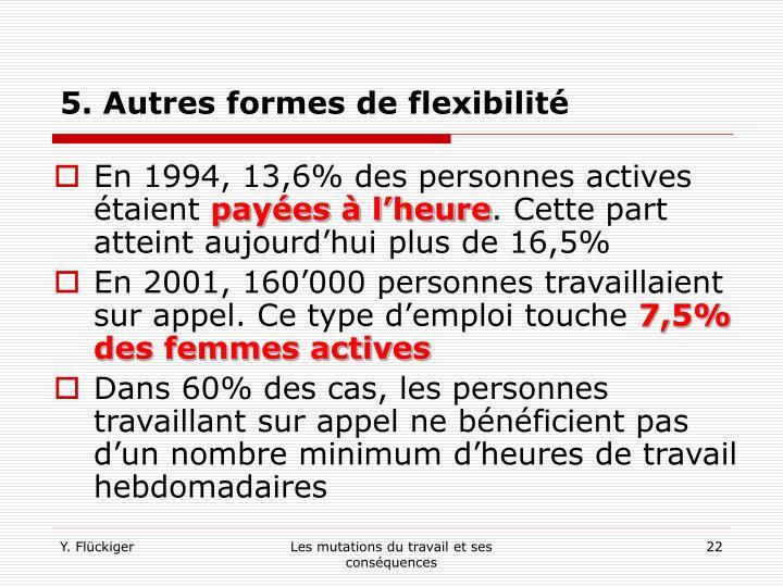 5. Autres formes de flexibilité