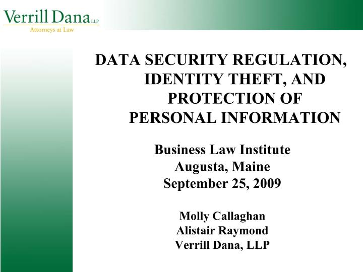 data security regulation identity theft and protection of personal information n.