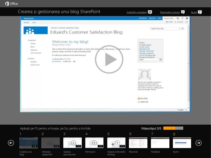 Crearea și gestionarea unui blog SharePoint