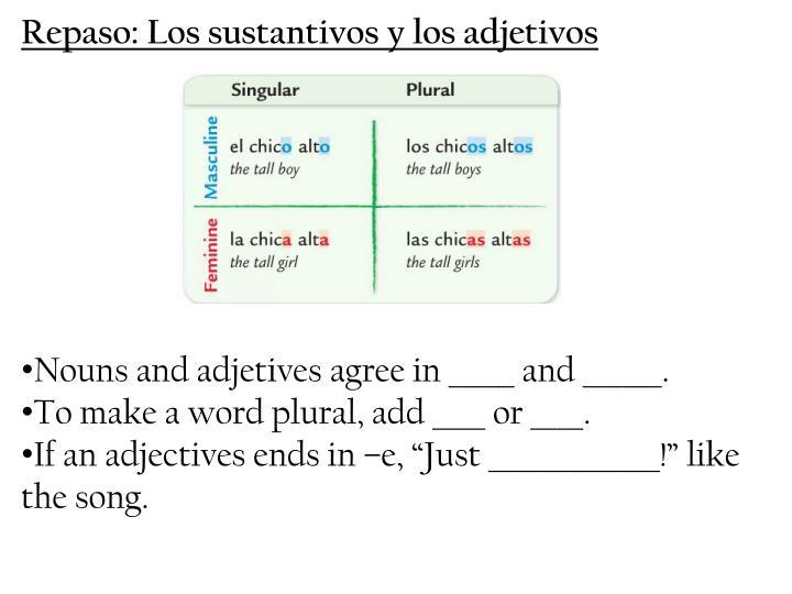 Repaso: Los sustantivos y los adjetivos