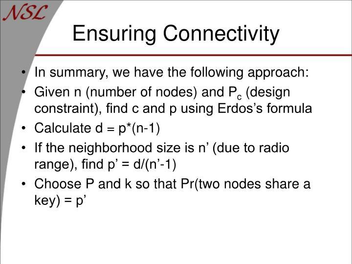 Ensuring Connectivity