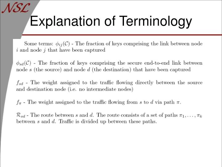 Explanation of Terminology