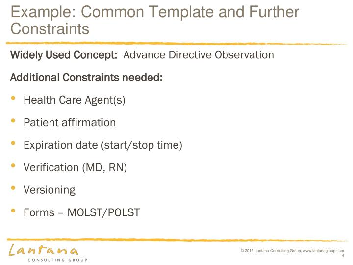 Example:Common Template and Further Constraints