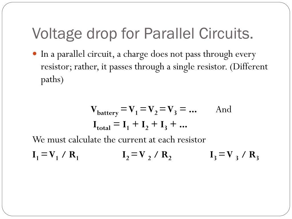 Calculating Voltage Drop In A Parallel Circuit