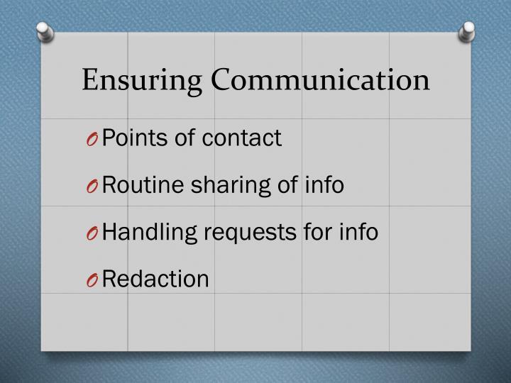 Ensuring Communication