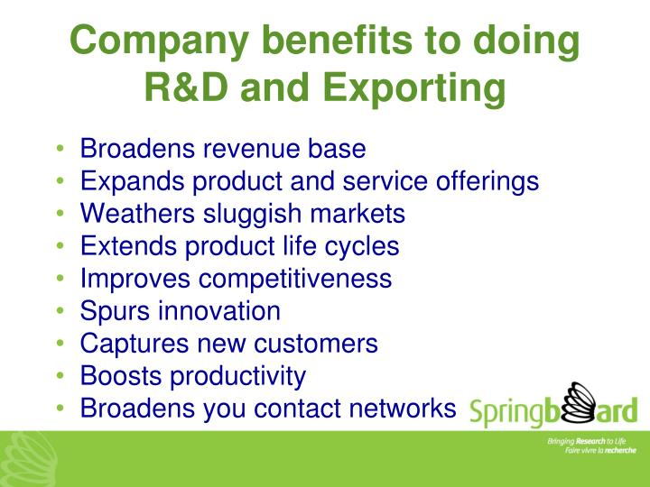 Company benefits to doing R&D and Exporting