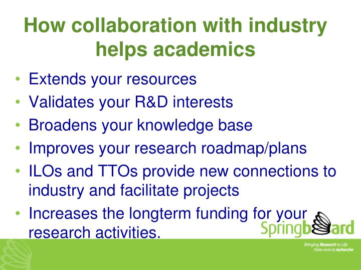 How collaboration with industry helps