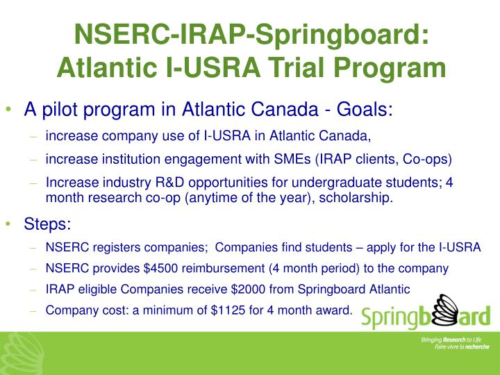 NSERC-IRAP-Springboard: