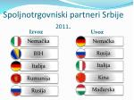 spoljnotrgovniski partneri srbije 2011