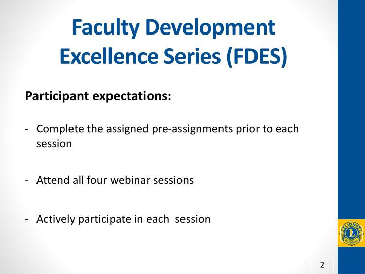 Faculty development excellence series fdes