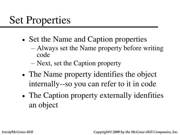 Set Properties
