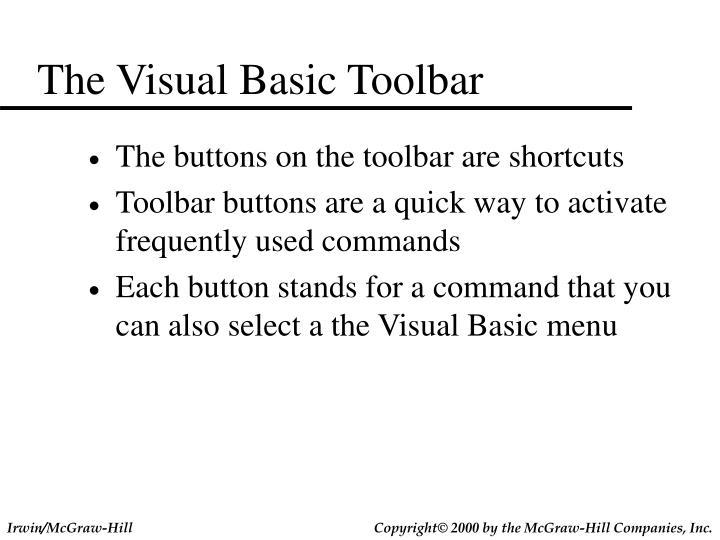 The Visual Basic Toolbar