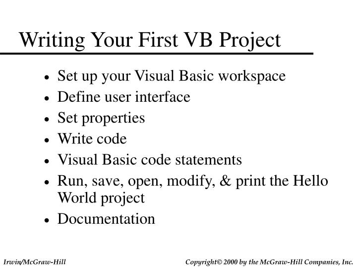 Writing Your First VB Project