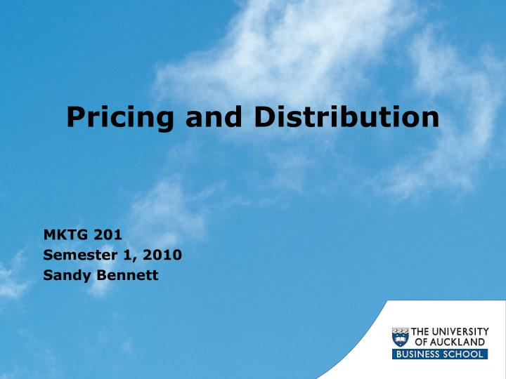 pricing and distribution n.