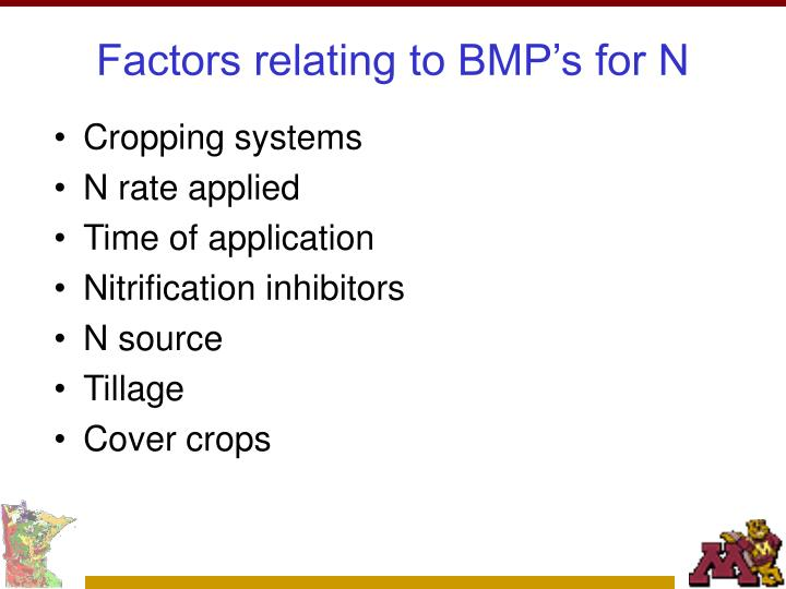Factors relating to bmp s for n