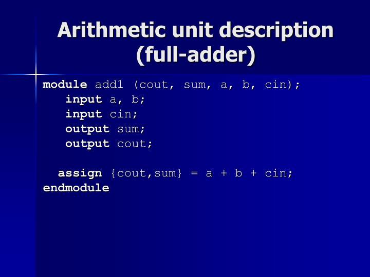Arithmetic unit description