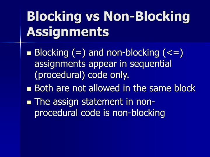 Blocking vs Non-Blocking Assignments