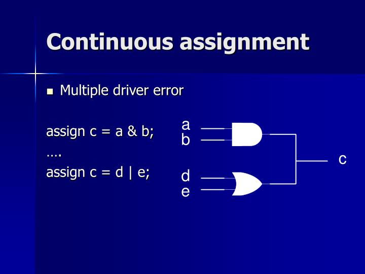 Continuous assignment