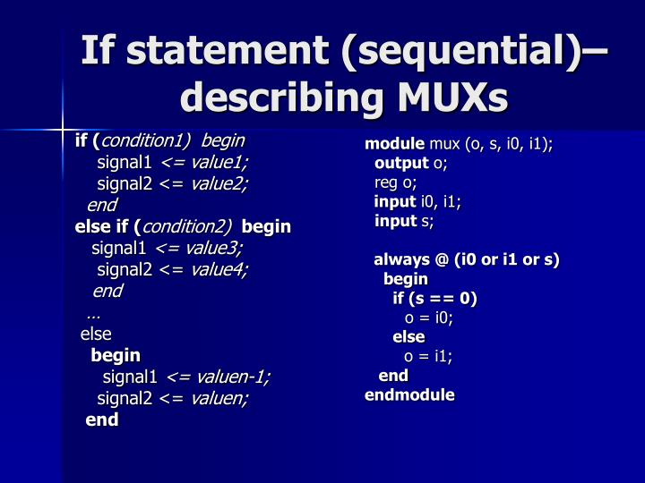 If statement (sequential)–