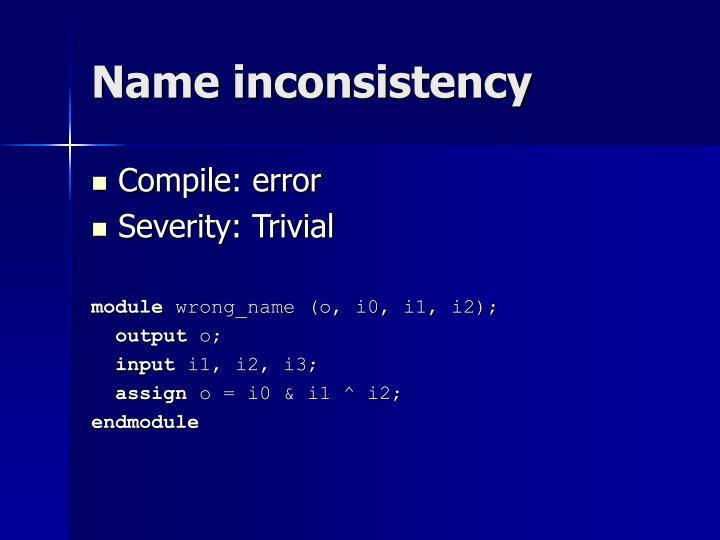 Name inconsistency