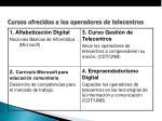 cursos ofrecidos a los operadores de telecentros