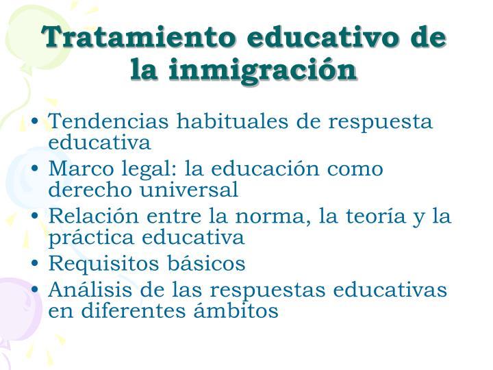 Tratamiento educativo de la inmigraci n