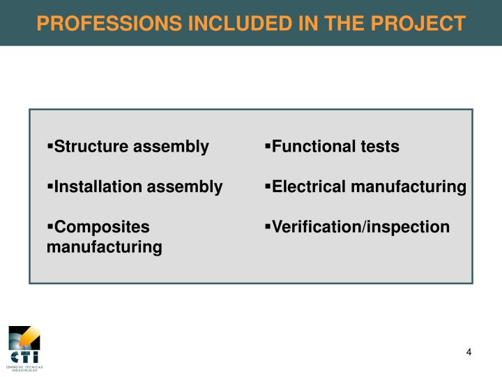 PROFESSIONS INCLUDED IN THE PROJECT