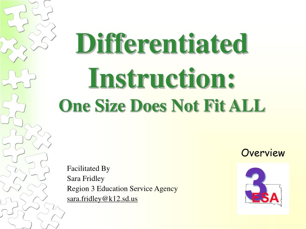 Ppt Differentiated Instruction One Size Does Not Fit All