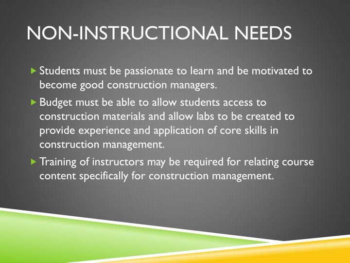 Non-Instructional Needs