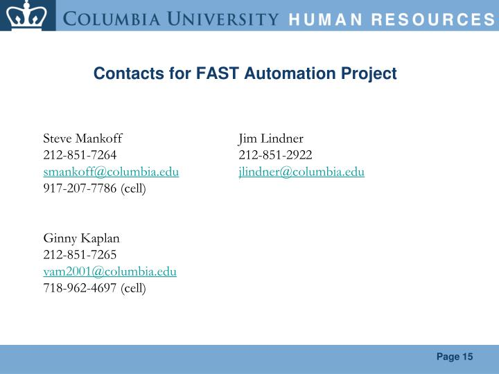 Contacts for FAST Automation Project