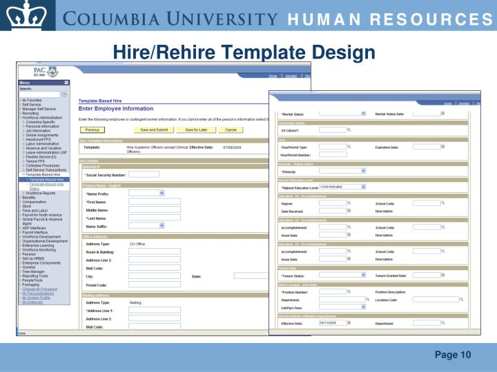 Hire/Rehire Template Design
