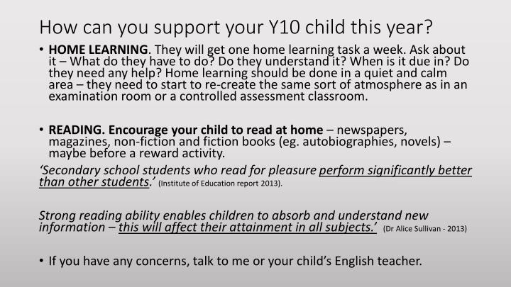 How can you support your Y10 child this year?