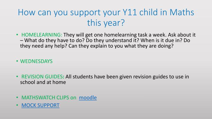 How can you support your Y11 child in Maths this year?