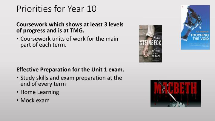 Priorities for Year 10