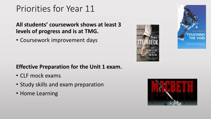 Priorities for Year 11