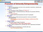 promotion of university entrepreneurship