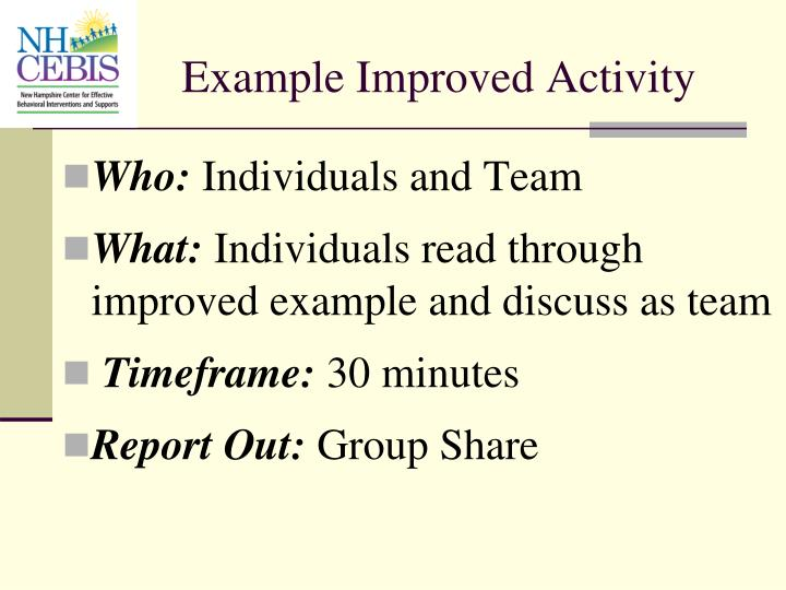 Example Improved Activity