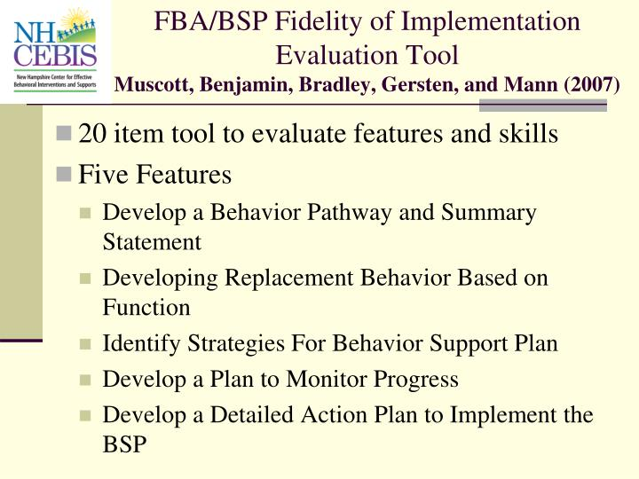 FBA/BSP Fidelity of Implementation Evaluation Tool