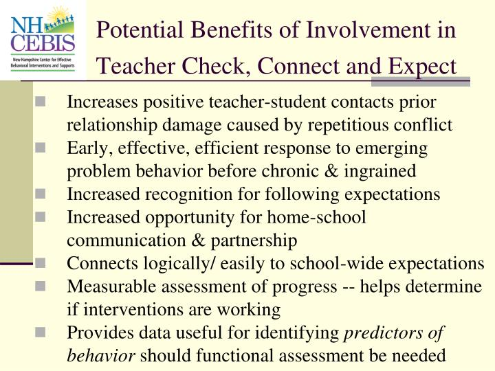 Potential Benefits of Involvement in Teacher Check, Connect and Expect
