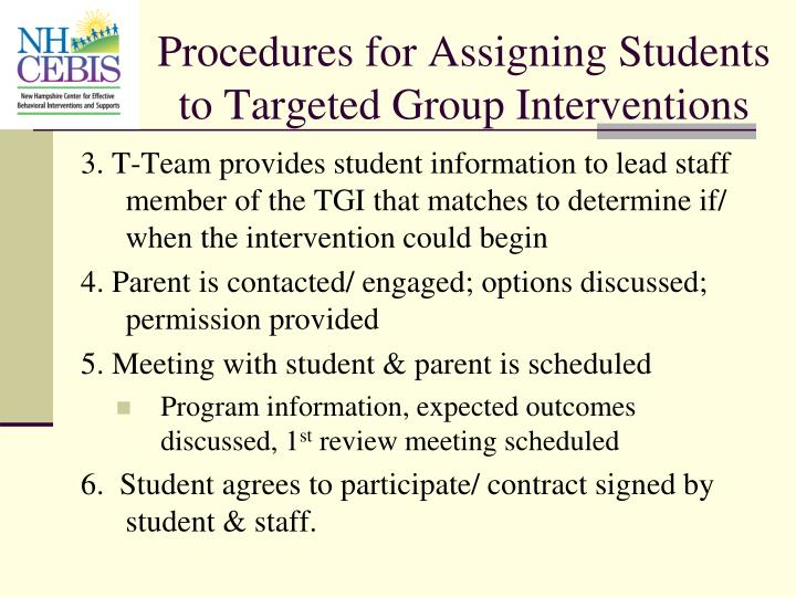 Procedures for Assigning Students to Targeted Group Interventions