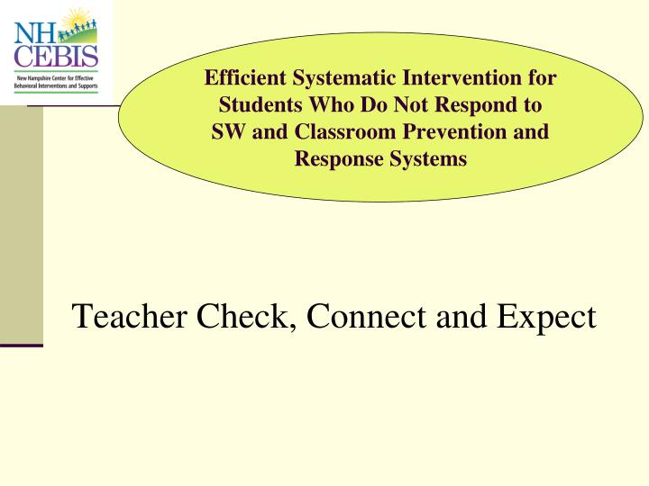 Teacher Check, Connect and Expect