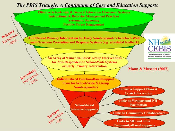 The pbis triangle a continuum of care and education supports