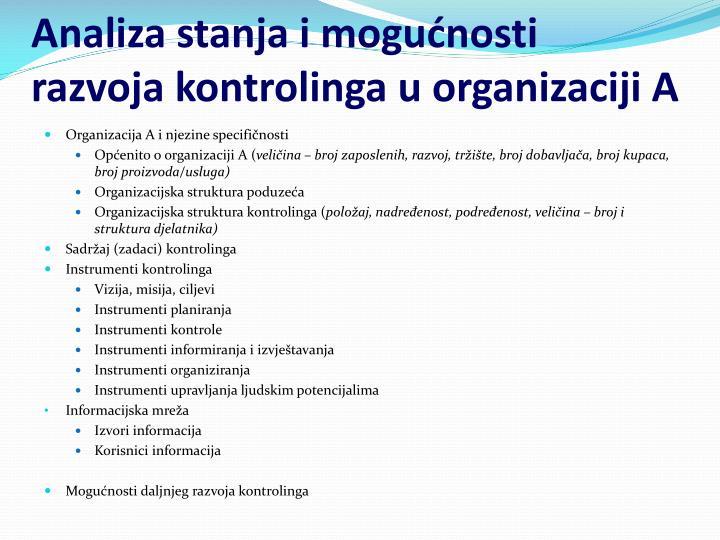 Analiza stanja i mogućnosti razvoja kontrolinga u organizaciji A
