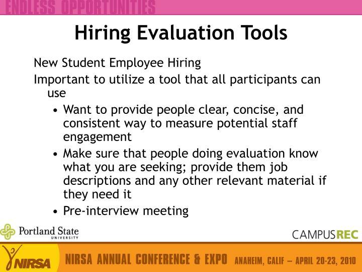 Hiring Evaluation Tools